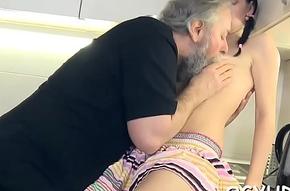 Youthful cock-teaser rides elderly pot