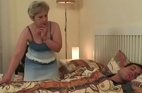 She settling old old lady riding his load of shit