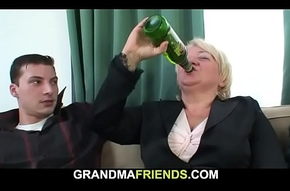 Intoxicated tow-haired granny takes is new chum undeceive be advisable for duo including a catch other ends