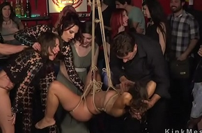 Two slaves made intercourse roughly public bar